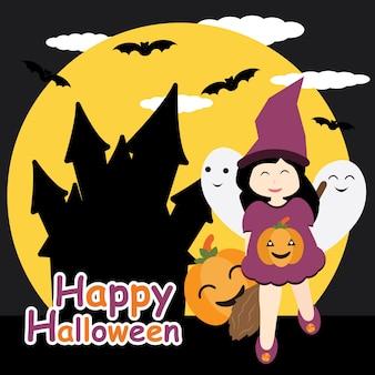 Fille mignonne comme sorcière, fantôme et citrouille sur le dessin animé de vecteur de fond de château de nuit, carte postale de halloween, fond d'écran et carte de voeux, design de t-shirt pour enfants