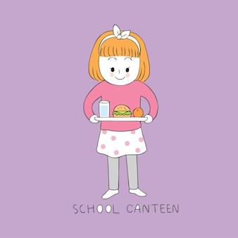 Fille mignonne de dessin animé dans le vecteur de cantine scolaire.