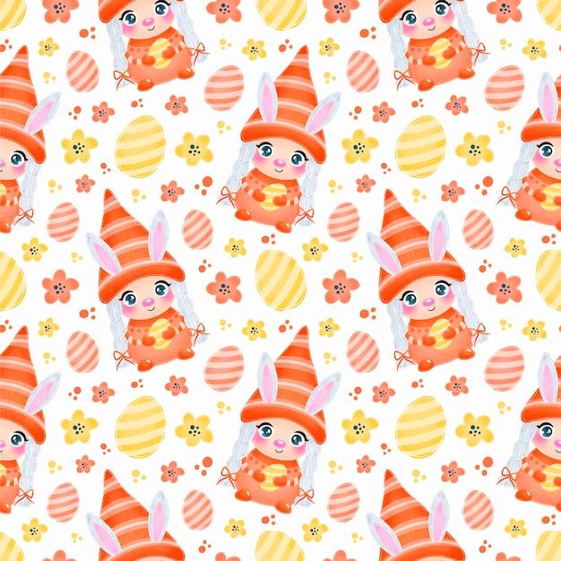 Fille mignonne de gnome de pâques avec modèle sans couture d'oreilles de lapin