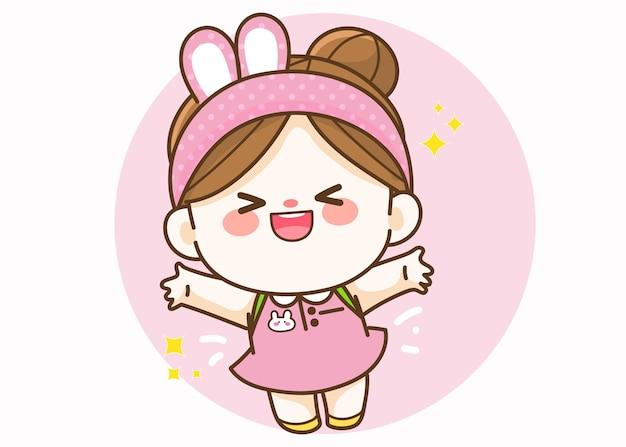 Fille mignonne joyeuse illustration d'art de dessin animé dessinés à la main