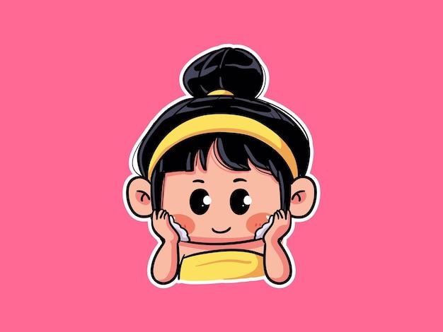 Fille mignonne et kawaii appliquer la mousse de lavage du visage pour la routine de soins de la peau manga chibi illustration