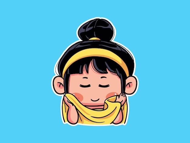 Fille mignonne et kawaii essuyer le visage avec une serviette pour la routine de soins de la peau manga chibi illustration