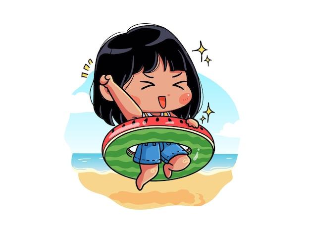Fille mignonne et kawaii est heureuse sur la bouée quand l'été arrive chibi
