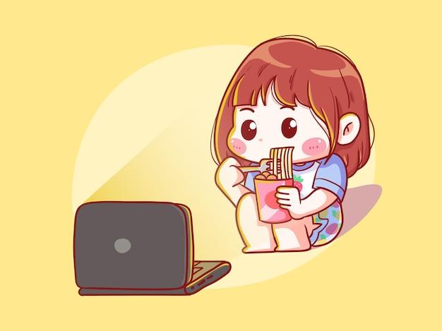 Fille mignonne et kawaii mange des nouilles en regardant un film sur un ordinateur portable manga chibi