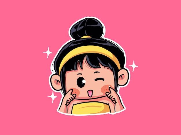Fille mignonne et kawaii avec une peau saine et éclatante, sourire et clin d'œil manga chibi illustration