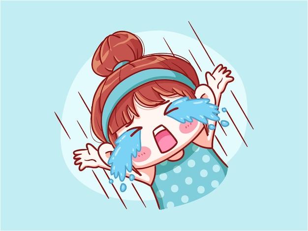 Fille mignonne et kawaii pleurant à haute voix manga chibi