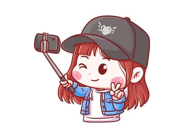 Fille mignonne et kawaii prend une photo avec selfie stick manga chibi