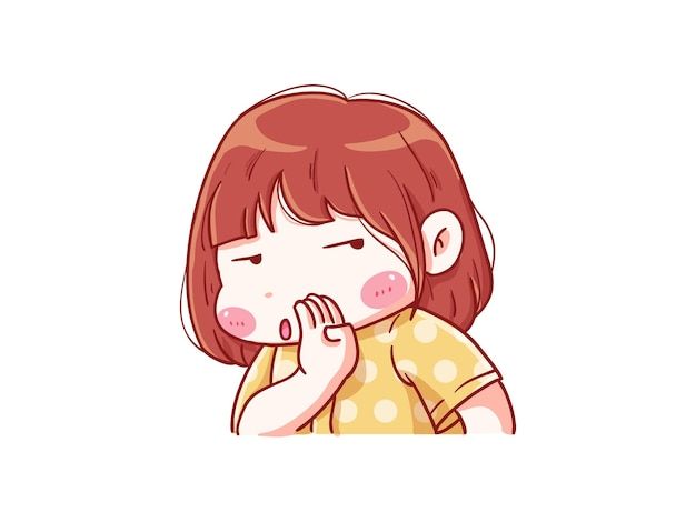 Fille mignonne et kawaii whisper avec une expression ennuyée manga chibi