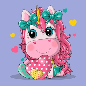 Fille mignonne de licorne avec illustration dessinée de coeur de dessin animé