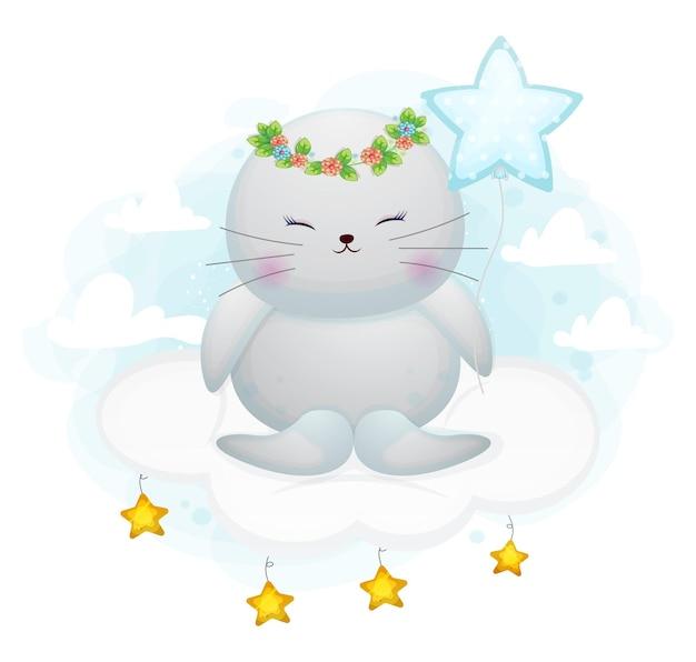 Fille mignonne de morse doodle s'asseoir sur le personnage de dessin animé de nuage
