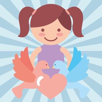 Fille mignonne pigeons coeur amour don de charité