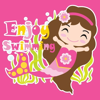 La fille mignonne de la sirène nage sur fond rose vecteur de dessin animé, carte postale d'été, fond d'écran et carte de voeux, design de t-shirt pour les enfants