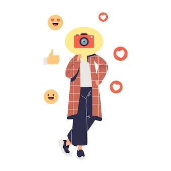 Fille millénaire décontractée publiant des photos sur le profil des médias sociaux avec des émoticônes emoji autour. concept de partage de communication et d'émotions. illustration vectorielle plane de dessin animé