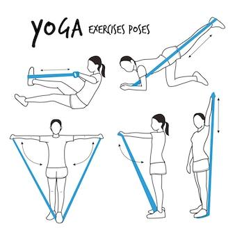 Fille mince pratiquant des exercices d'étirement de yoga pose vecteur