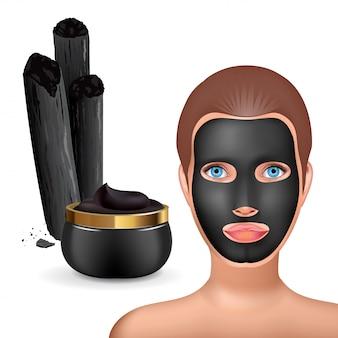 Fille de mode beauté appliquer un masque noir au charbon de bois. emballage cosmétique de masque facial.