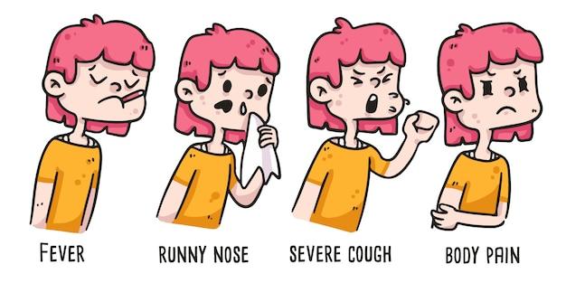 Fille montrant des symptômes de coronavirus dessin illustration