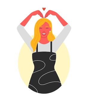 Fille montre l'émotion de l'amour avec des gestes illustration vectorielle à plat sur un fond blanc isolé