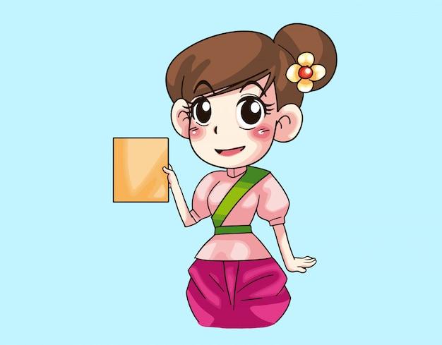 Une fille montre un livre jaune dessin animé thaïlandais
