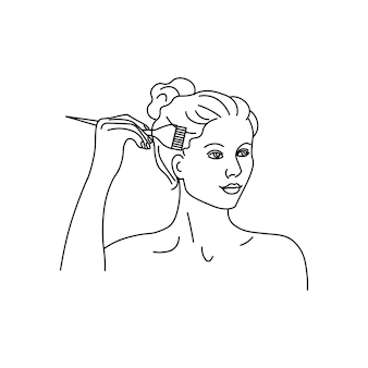 Fille mourant ses cheveux silhouette minimaliste abstraite de fille de ligne