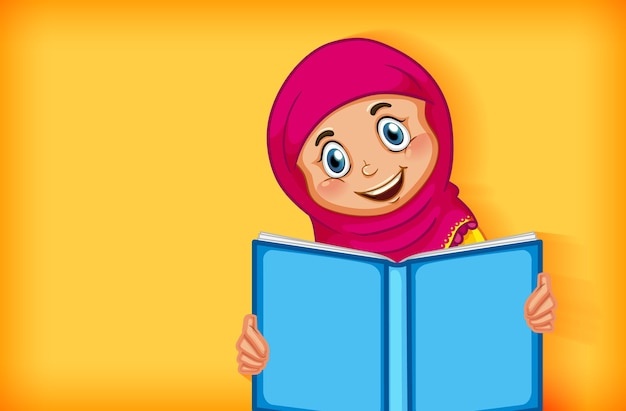 Fille musulmane lisant le livre