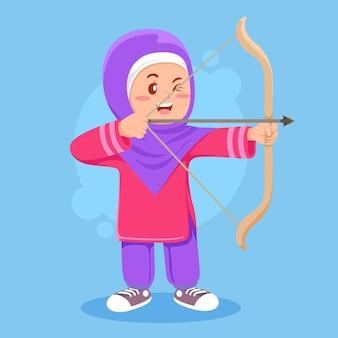 Fille musulmane mignonne faisant l'illustration de sport de tir à l'arc