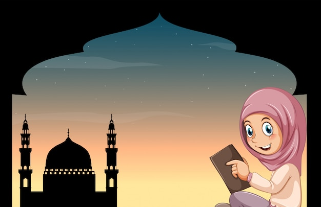 Fille musulmane avec mosquée