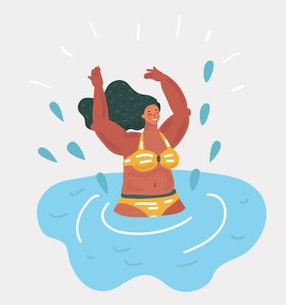 Fille nageant dans la piscine