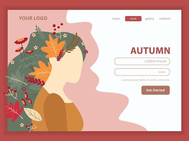 Fille nature automne avec des fleurs
