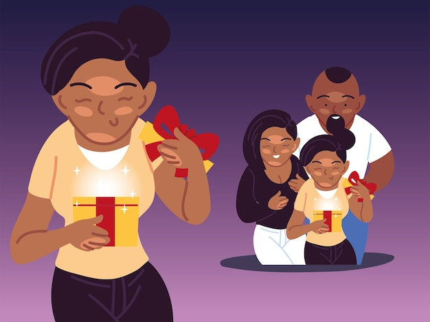 Fille noire et cadeau d'ouverture de la famille, joyeux anniversaire célébration décoration fête illustration thème festif et surprise