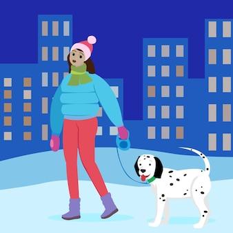 Fille noire femme promène son chien dans la rue