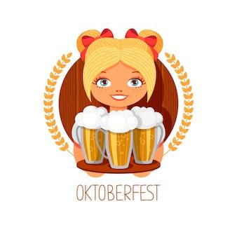 Fille de l'oktoberfest avec de la bière.