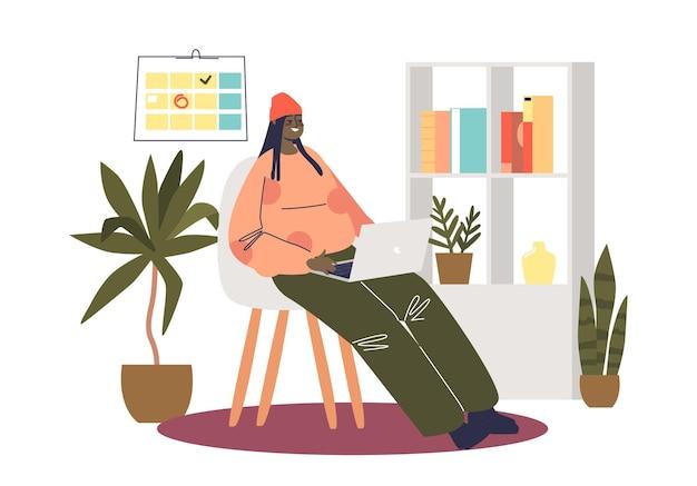 Une fille avec un ordinateur portable à la maison travaille dans une réunion vidéo en ligne ou se détend sur des sites web de médias sociaux qui communiquent sur un ordinateur. illustration vectorielle plane de dessin animé