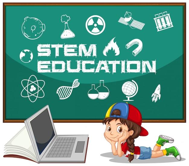 Fille et ordinateur portable avec style de dessin animé de texte d'éducation de tige isolé