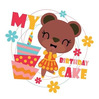Fille ours mignon avec dessin animé de gâteau d'anniversaire