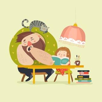 Fille avec papa fait ses devoirs