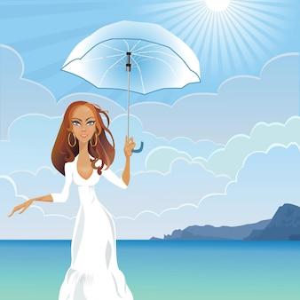 Fille avec un parapluie au bord de la mer