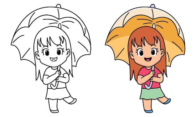 Fille avec parapluie coloriage pour les enfants