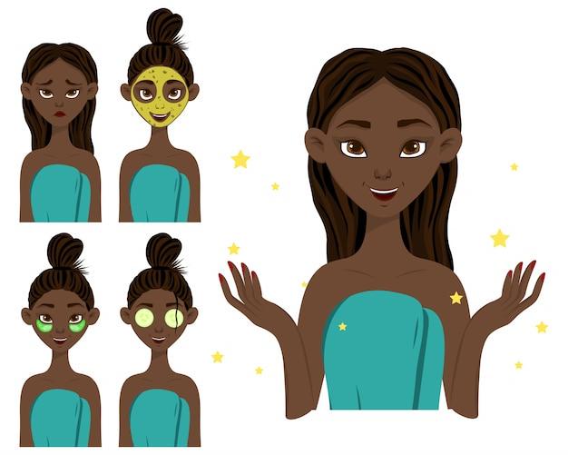 Fille à la peau foncée avant et après l'application d'un masque de beauté