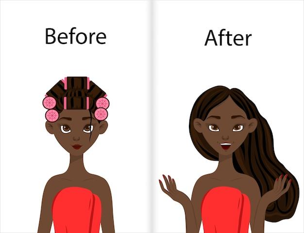Fille à la peau foncée avant et après le coiffage des cheveux sur bigoudis