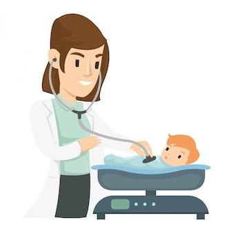 Une fille pédiatre utilise un stéthoscope pour examiner un enfant