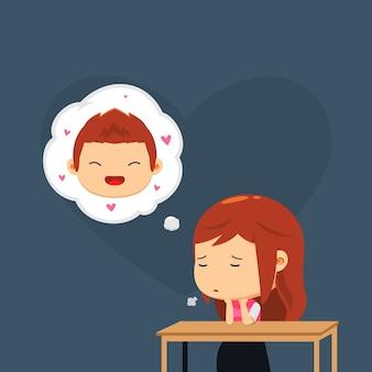 Une fille pense à son petit ami