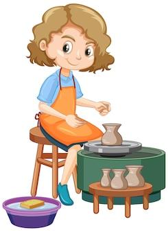 Fille de personnage de dessin animé faisant de l'argile de poterie sur blanc