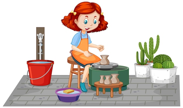 Fille de personnage de dessin animé faisant de l'argile de poterie sur fond blanc