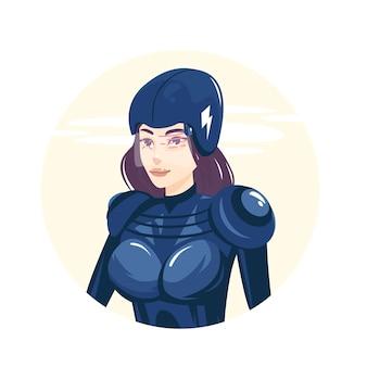 Fille pilote portant un casque et un uniforme futuriste, illustration vectorielle
