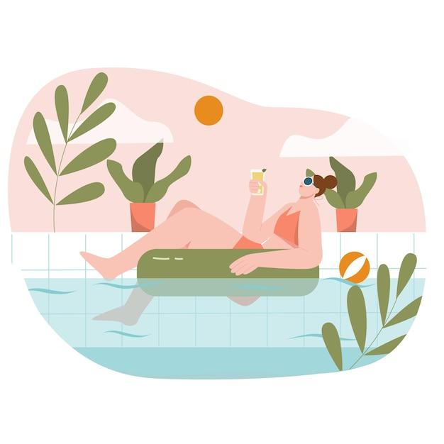 Fille à la piscine