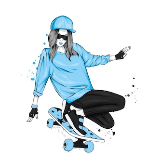 La fille sur une planche à roulettes. illustration vectorielle.