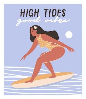 Fille sur la planche de surf