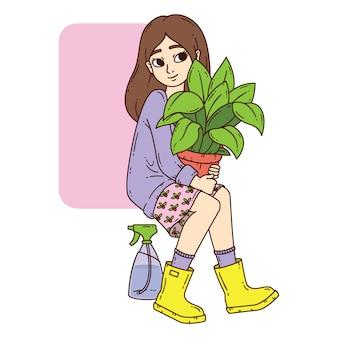 Fille avec plante en pot.