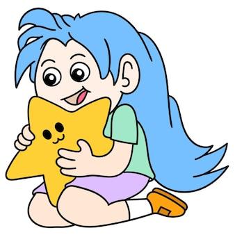 Une fille pleine de rêves serre l'étoile dans ses bras, dessine un griffonnage kawaii. illustration vectorielle