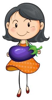 Fille portant des aubergines dans les mains